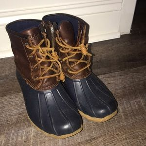 Sperry Rainboots, Navy Blue and Brown Leather